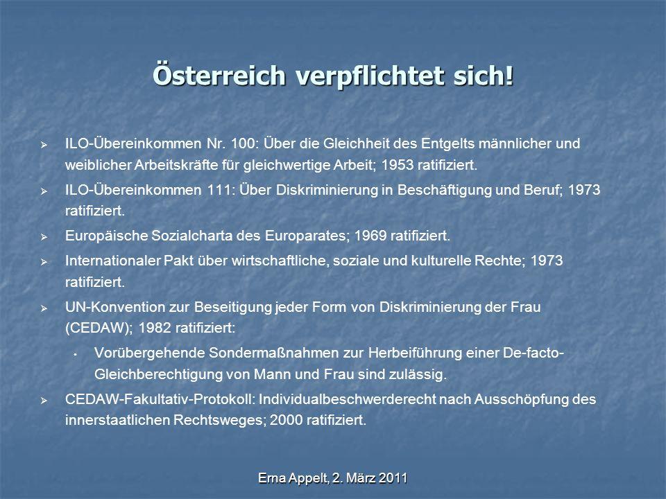 Erna Appelt, 2. März 2011 Österreich verpflichtet sich! ILO-Übereinkommen Nr. 100: Über die Gleichheit des Entgelts männlicher und weiblicher Arbeitsk