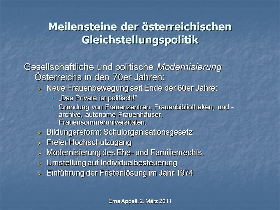 Erna Appelt, 2. März 2011 Meilensteine der österreichischen Gleichstellungspolitik Gesellschaftliche und politische Modernisierung Österreichs in den