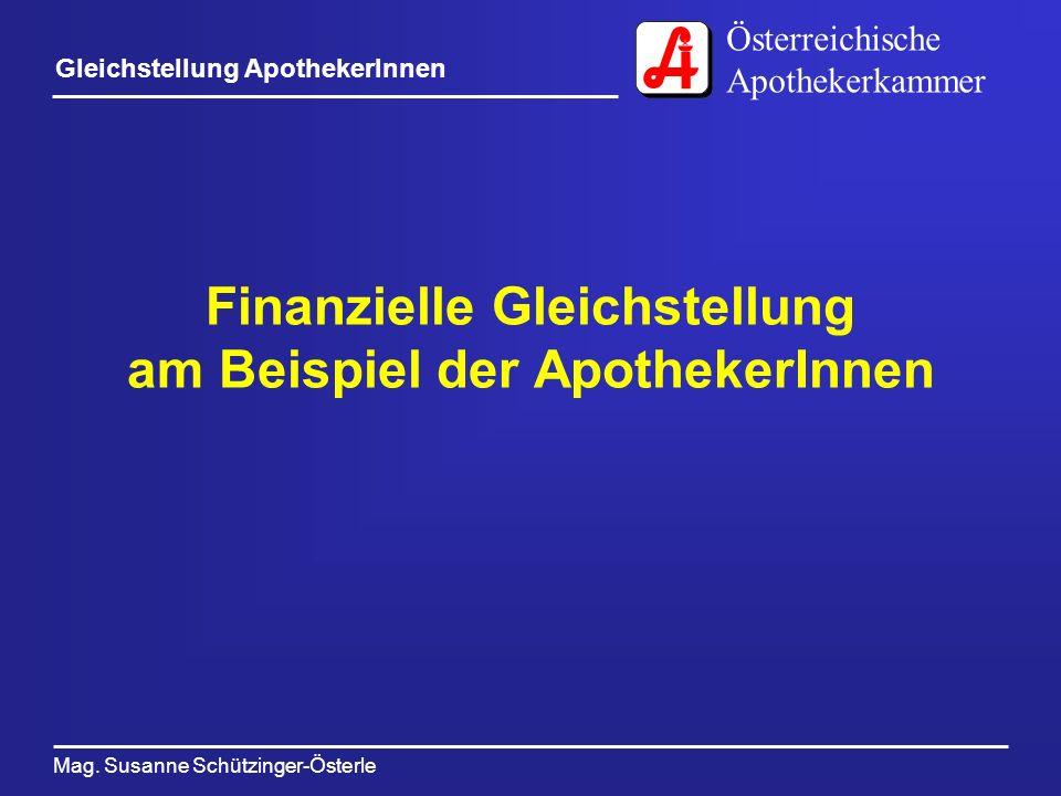 Österreichische Apothekerkammer Mag. Susanne Schützinger-Österle Gleichstellung ApothekerInnen Finanzielle Gleichstellung am Beispiel der ApothekerInn