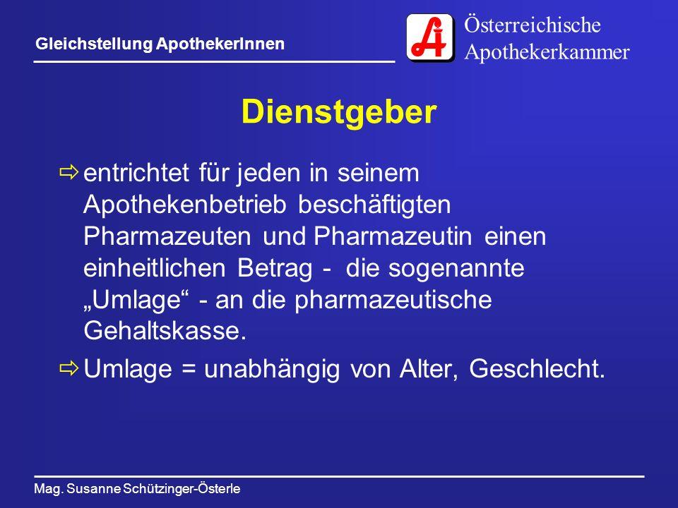 Österreichische Apothekerkammer Mag. Susanne Schützinger-Österle Gleichstellung ApothekerInnen Dienstgeber entrichtet für jeden in seinem Apothekenbet