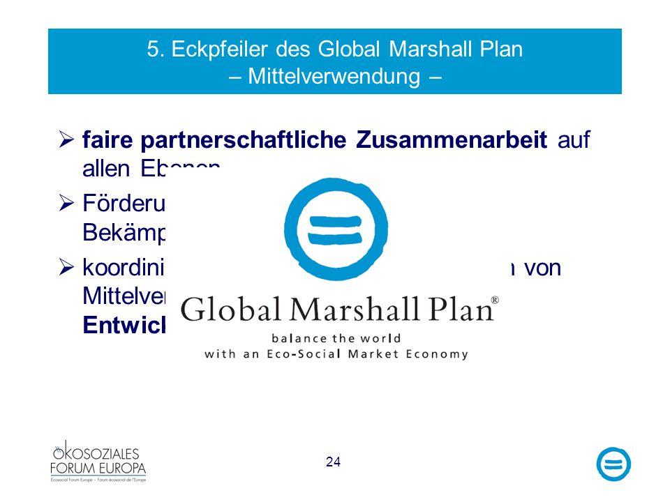 24 5. Eckpfeiler des Global Marshall Plan – Mittelverwendung – faire partnerschaftliche Zusammenarbeit auf allen Ebenen Förderung von Good Governance