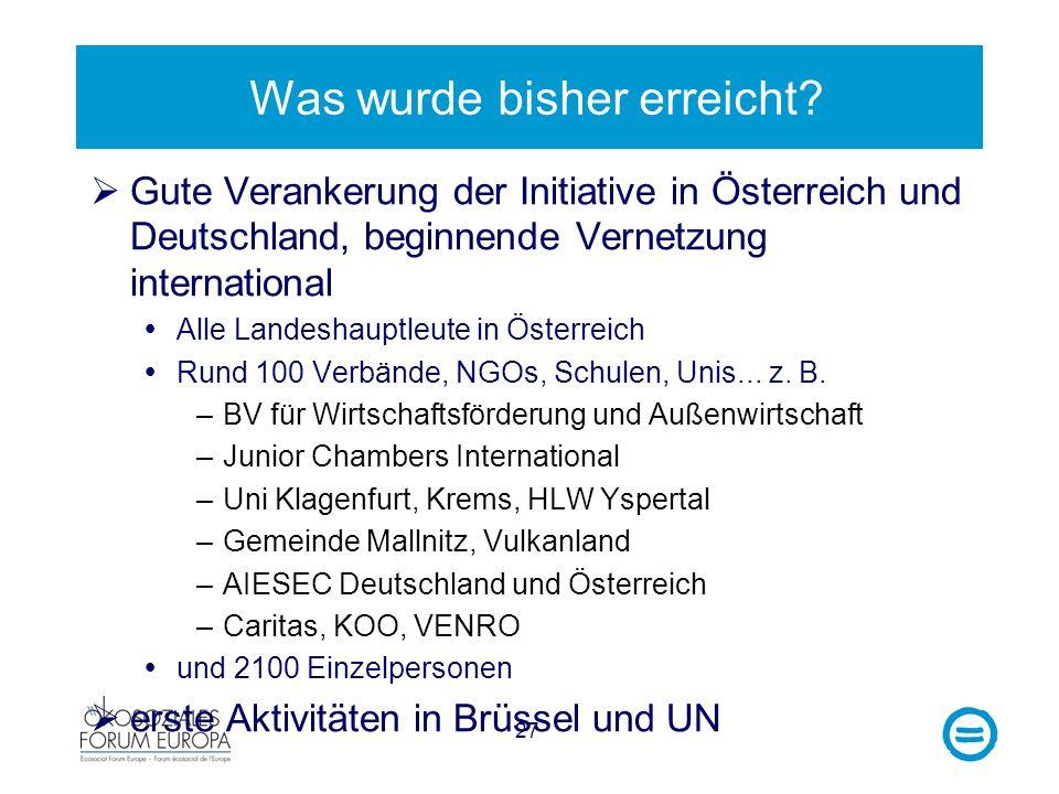 27 Was wurde bisher erreicht? Gute Verankerung der Initiative in Österreich und Deutschland, beginnende Vernetzung international Alle Landeshauptleute