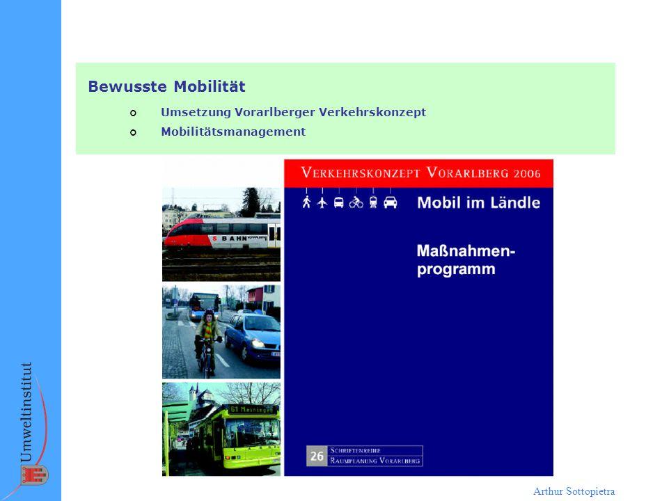Arthur Sottopietra Bewusste Mobilität ¢ Umsetzung Vorarlberger Verkehrskonzept ¢ Mobilitätsmanagement