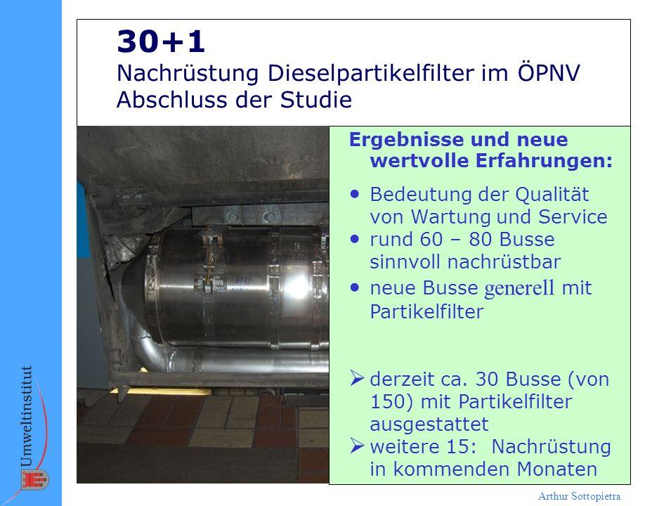Arthur Sottopietra 30+1 Nachrüstung Dieselpartikelfilter im ÖPNV Abschluss der Studie Ergebnisse und neue wertvolle Erfahrungen: Bedeutung der Qualitä
