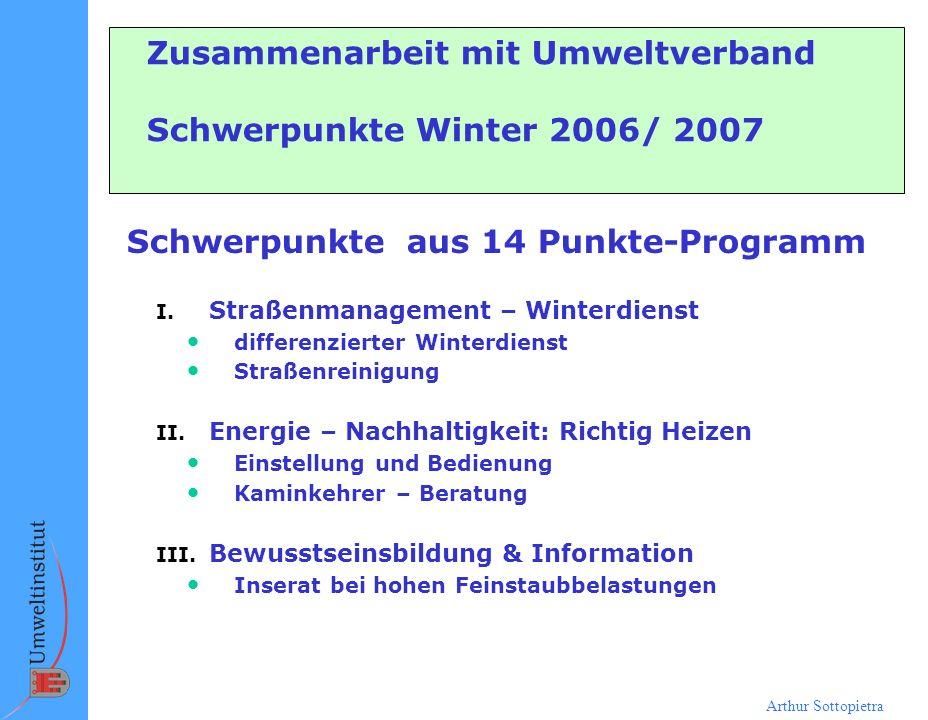 Arthur Sottopietra Zusammenarbeit mit Umweltverband Schwerpunkte Winter 2006/ 2007 Schwerpunkte aus 14 Punkte-Programm I. Straßenmanagement – Winterdi