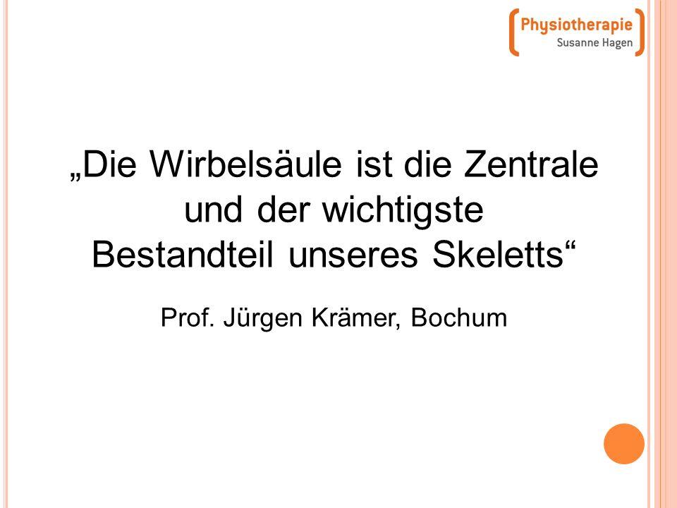 Die Wirbelsäule ist die Zentrale und der wichtigste Bestandteil unseres Skeletts Prof. Jürgen Krämer, Bochum