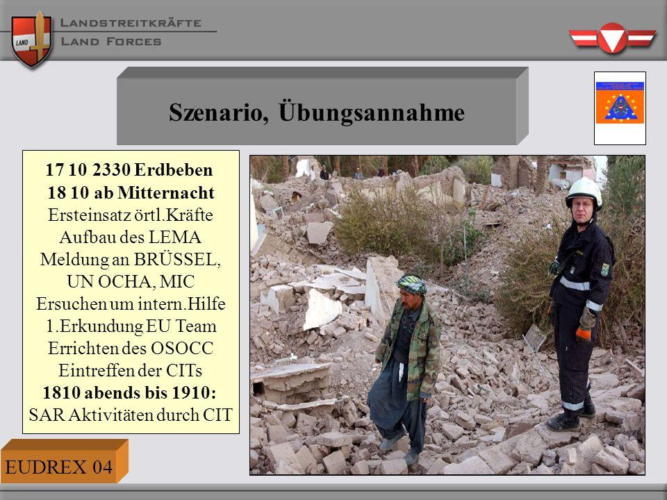 Erdbeben und ABC-Szenario Am Tag E ereignet sich im Raum Wr.NEUSTADT und BADEN IM EU-Mitgliedsstaat TRITOLIEN ein schweres Erdbeben der Stärke 6,5 (Richterskala), dessen Epizentrum in einem dicht verbauten Wohngebiet liegt.
