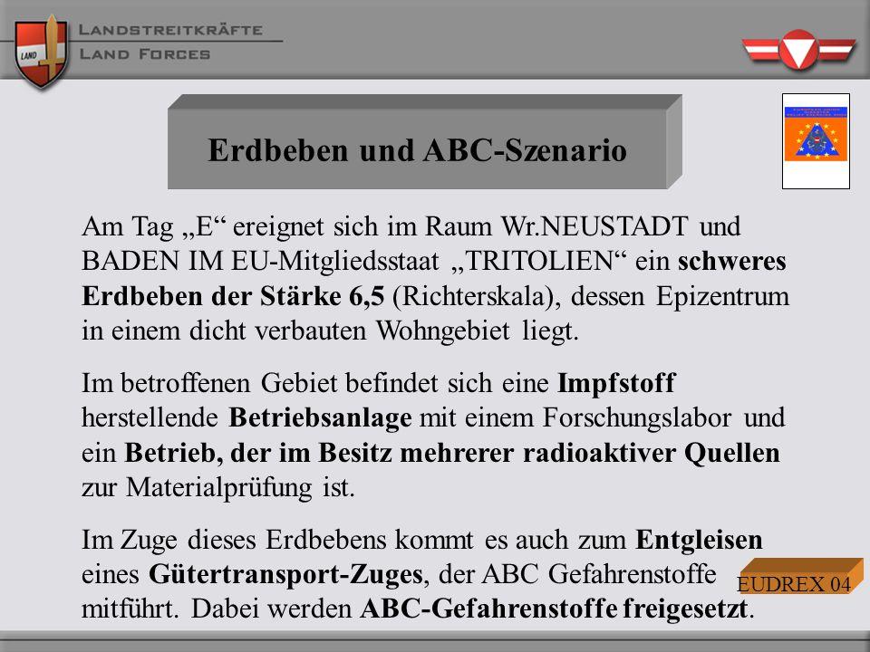 Erdbeben und ABC-Szenario Am Tag E ereignet sich im Raum Wr.NEUSTADT und BADEN IM EU-Mitgliedsstaat TRITOLIEN ein schweres Erdbeben der Stärke 6,5 (Ri