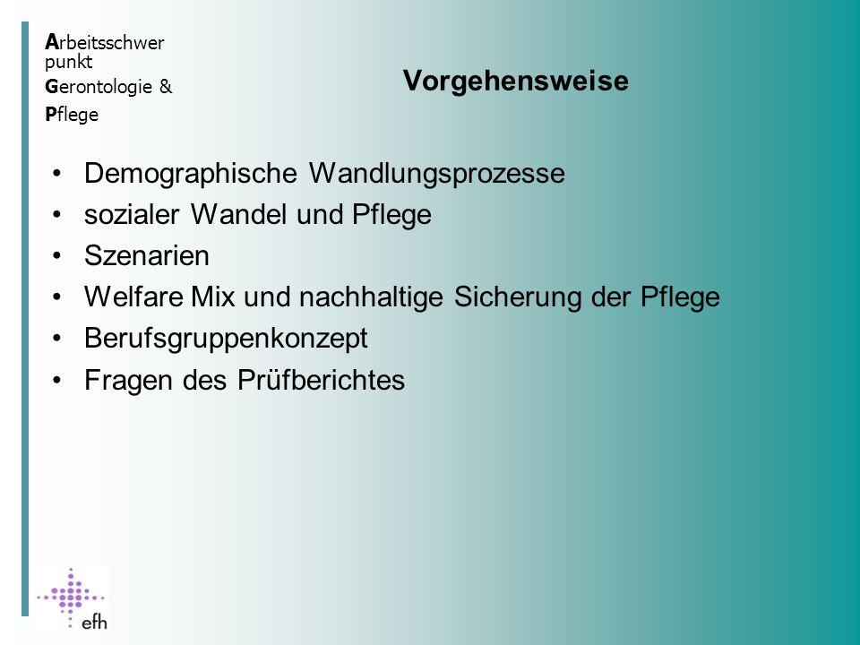A rbeitsschwer punkt Gerontologie & Pflege Demographische Entwicklung in Baden Württemberg