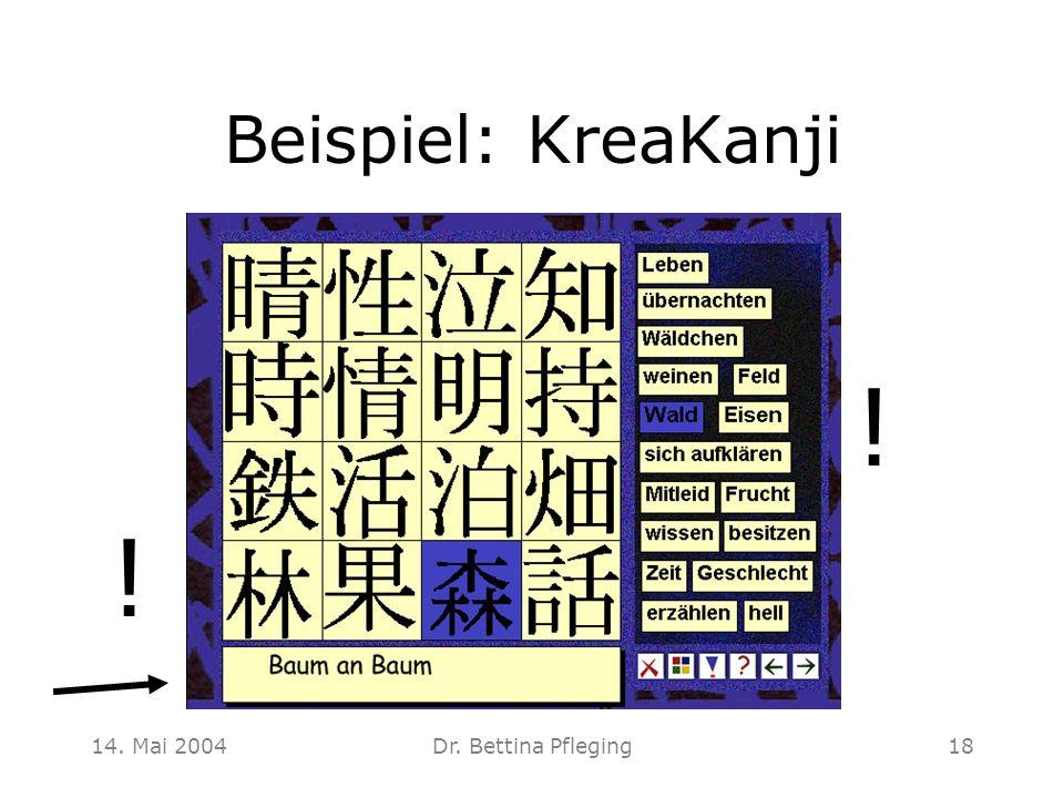 14. Mai 2004Dr. Bettina Pfleging18 Beispiel: KreaKanji ! !