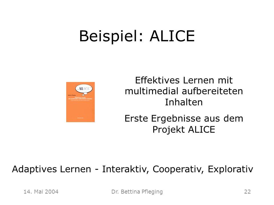 14. Mai 2004Dr. Bettina Pfleging22 Beispiel: ALICE Effektives Lernen mit multimedial aufbereiteten Inhalten Erste Ergebnisse aus dem Projekt ALICE Ada