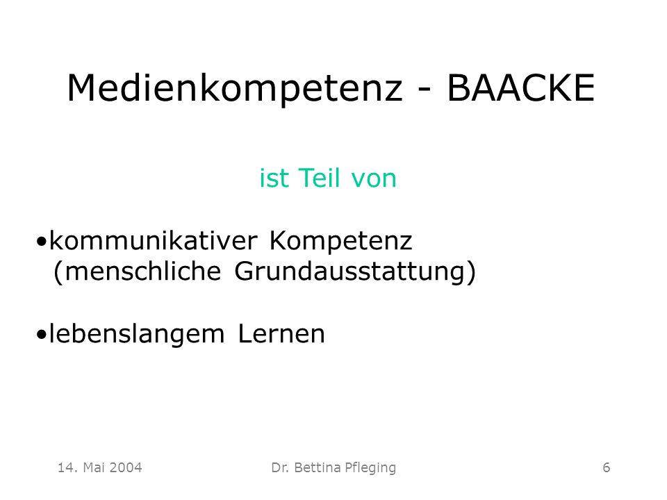 14. Mai 2004Dr. Bettina Pfleging6 Medienkompetenz - BAACKE ist Teil von kommunikativer Kompetenz (menschliche Grundausstattung) lebenslangem Lernen