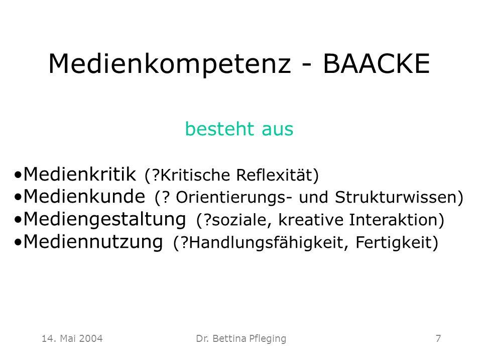 14. Mai 2004Dr. Bettina Pfleging7 Medienkompetenz - BAACKE besteht aus Medienkritik (?Kritische Reflexität) Medienkunde (? Orientierungs- und Struktur