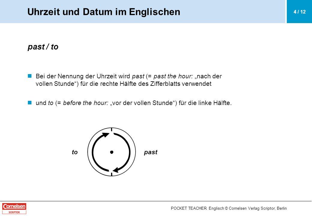 POCKET TEACHER Englisch © Cornelsen Verlag Scriptor, Berlin a quarter past / to und half past / to Die viertelstündigen Schritte werden mit (a) quarter past, half past und (a) quarter to ausgedrückt.