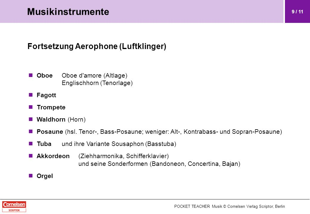Fortsetzung Aerophone (Luftklinger) OboeOboe d'amore (Altlage) Englischhorn (Tenorlage) Fagott Trompete Waldhorn (Horn) Posaune (hsl. Tenor-, Bass-Pos