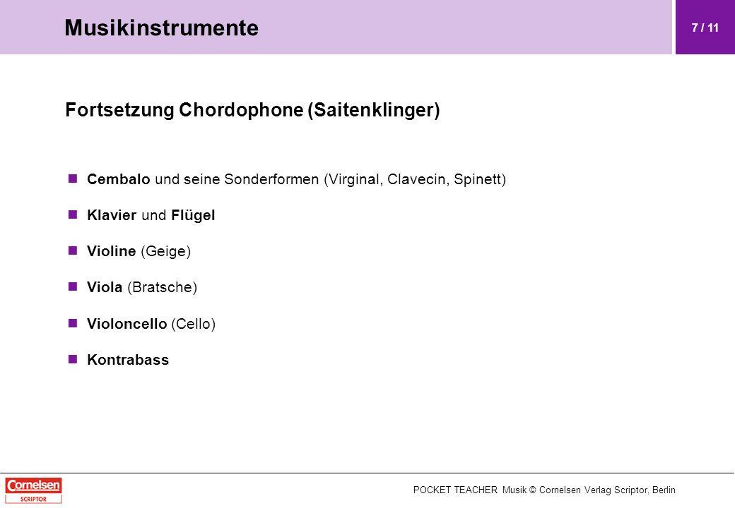 Fortsetzung Chordophone (Saitenklinger) Cembalo und seine Sonderformen (Virginal, Clavecin, Spinett) Klavier und Flügel Violine (Geige) Viola (Bratsch