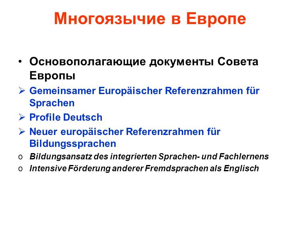 Многоязычие в Европе Основополагающие документы Совета Европы Gemeinsamer Europäischer Referenzrahmen für Sprachen Profile Deutsch Neuer europäischer Referenzrahmen für Bildungssprachen oBildungsansatz des integrierten Sprachen- und Fachlernens oIntensive Förderung anderer Fremdsprachen als Englisch
