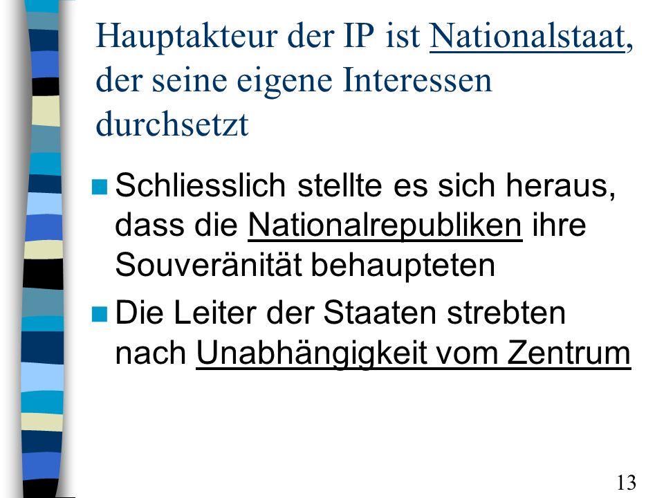 Hauptakteur der IP ist Nationalstaat, der seine eigene Interessen durchsetzt Schliesslich stellte es sich heraus, dass die Nationalrepubliken ihre Souveränität behaupteten Die Leiter der Staaten strebten nach Unabhängigkeit vom Zentrum 13