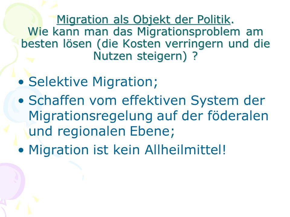 Migration als Objekt der Politik.