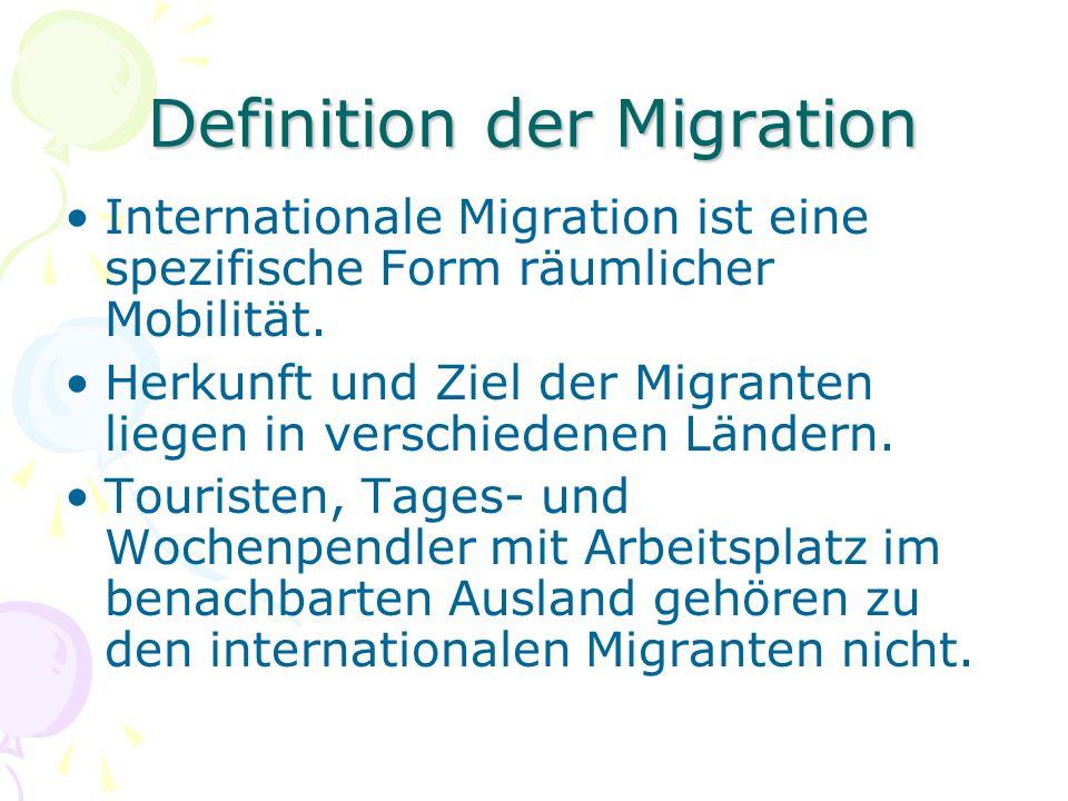 Definition der Migration Internationale Migration ist eine spezifische Form räumlicher Mobilität.