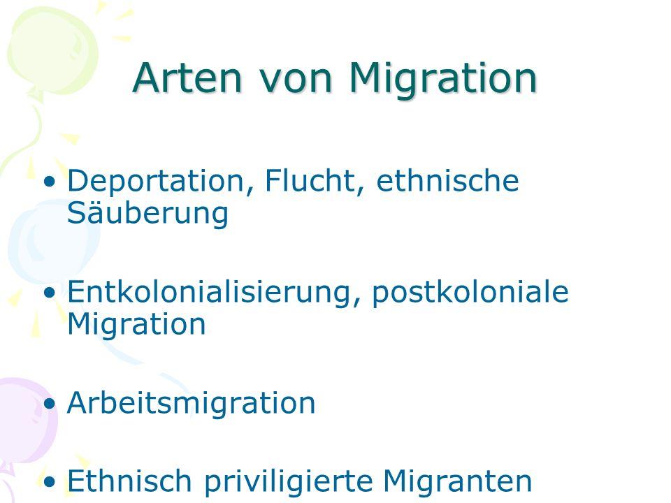 Arten von Migration Deportation, Flucht, ethnische Säuberung Entkolonialisierung, postkoloniale Migration Arbeitsmigration Ethnisch priviligierte Migranten