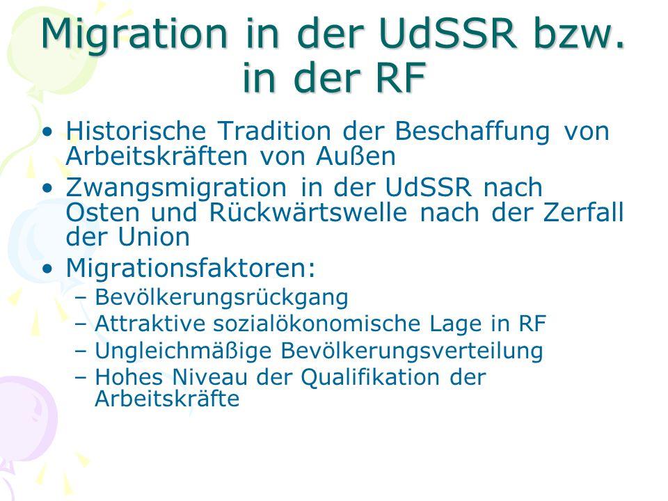 Migrationspolitik der RF Notwendige Legalisierung der Migrationsströmungen Einführung von qualitative und quantitative Einschränkungen Zentalisierte Regelung um die Konzentration der Migranten in den grossen Städten zu vermeiden