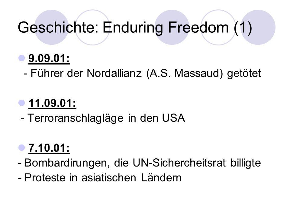 Geschichte: Enduring Freedom (1) 9.09.01: - Führer der Nordallianz (A.S. Massaud) getötet 11.09.01: - Terroranschlagläge in den USA 7.10.01: - Bombard
