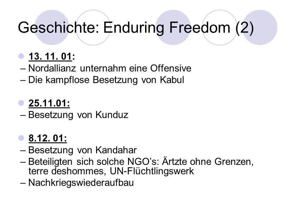 Geschichte: Enduring Freedom (2) 13. 11. 01: – Nordallianz unternahm eine Offensive – Die kampflose Besetzung von Kabul 25.11.01: – Besetzung von Kund