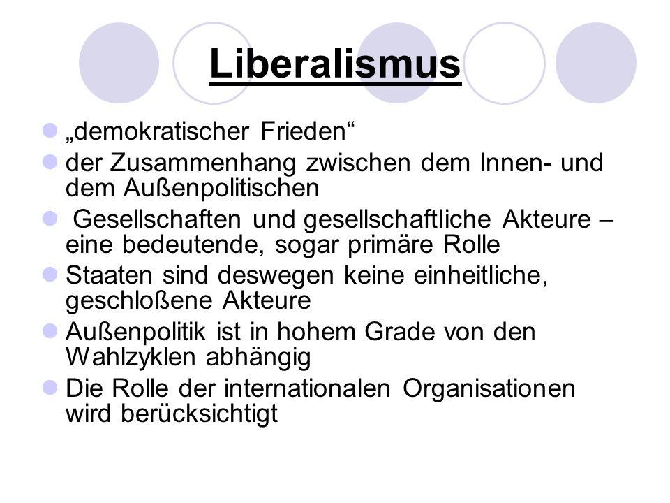Liberalismus demokratischer Frieden der Zusammenhang zwischen dem Innen- und dem Außenpolitischen Gesellschaften und gesellschaftliche Akteure – eine bedeutende, sogar primäre Rolle Staaten sind deswegen keine einheitliche, geschloßene Akteure Außenpolitik ist in hohem Grade von den Wahlzyklen abhängig Die Rolle der internationalen Organisationen wird berücksichtigt