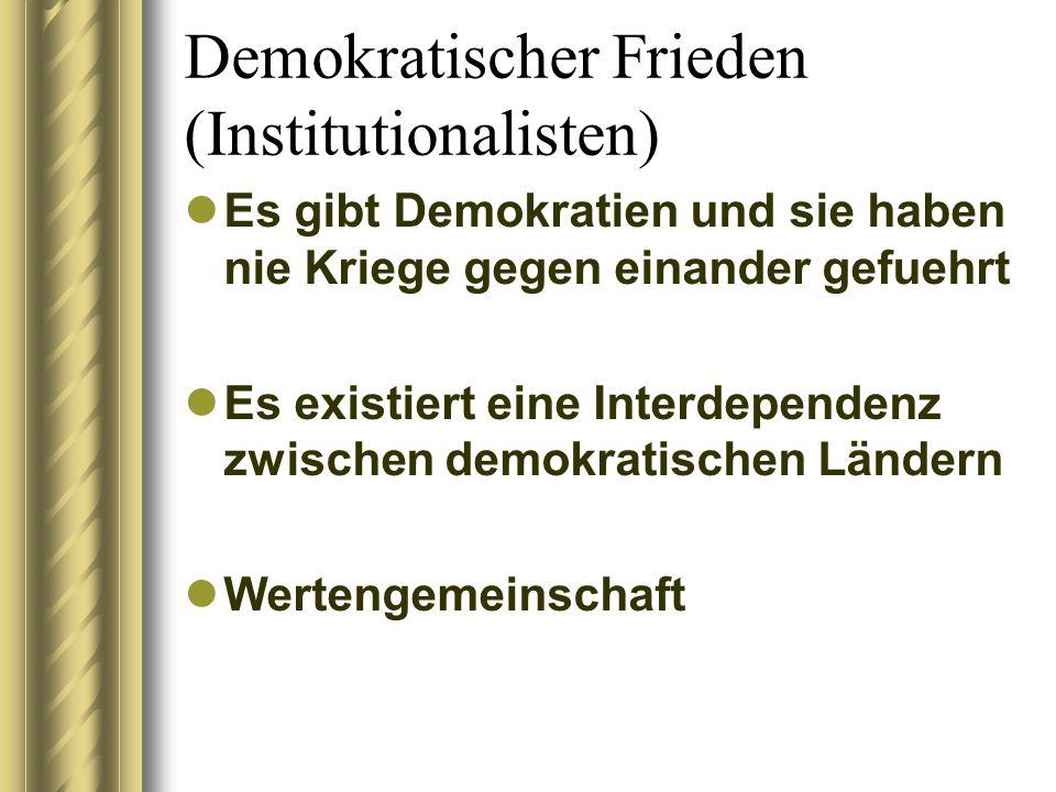 Demokratischer Frieden (Institutionalisten) Es gibt Demokratien und sie haben nie Kriege gegen einander gefuehrt Es existiert eine Interdependenz zwischen demokratischen Ländern Wertengemeinschaft