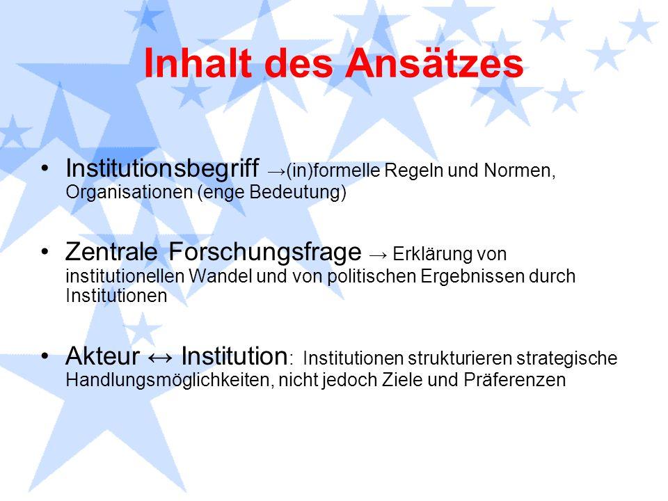 Inhalt des Ansätzes Institutionsbegriff (in)formelle Regeln und Normen, Organisationen (enge Bedeutung) Zentrale Forschungsfrage Erklärung von institu