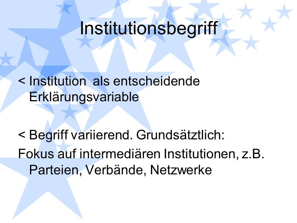 Institutionsbegriff <Institution als entscheidende Erklärungsvariable <Begriff variierend. Grundsätztlich: Fokus auf intermediären Institutionen, z.B.
