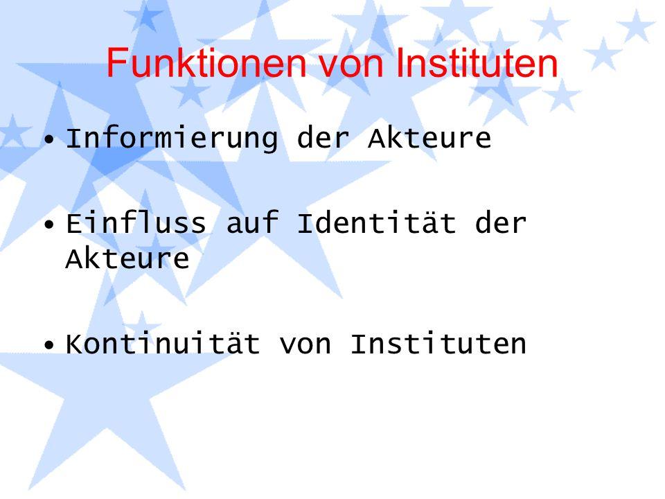 Funktionen von Instituten Informierung der Akteure Einfluss auf Identität der Akteure Kontinuität von Instituten