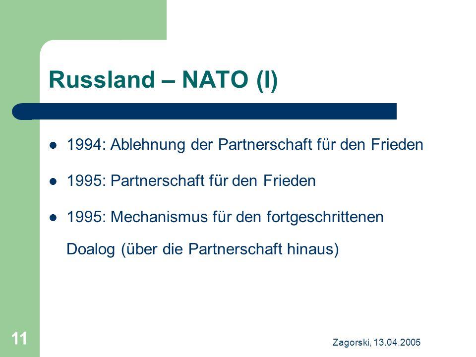 Zagorski, 13.04.2005 11 Russland – NATO (I) 1994: Ablehnung der Partnerschaft für den Frieden 1995: Partnerschaft für den Frieden 1995: Mechanismus für den fortgeschrittenen Doalog (über die Partnerschaft hinaus)