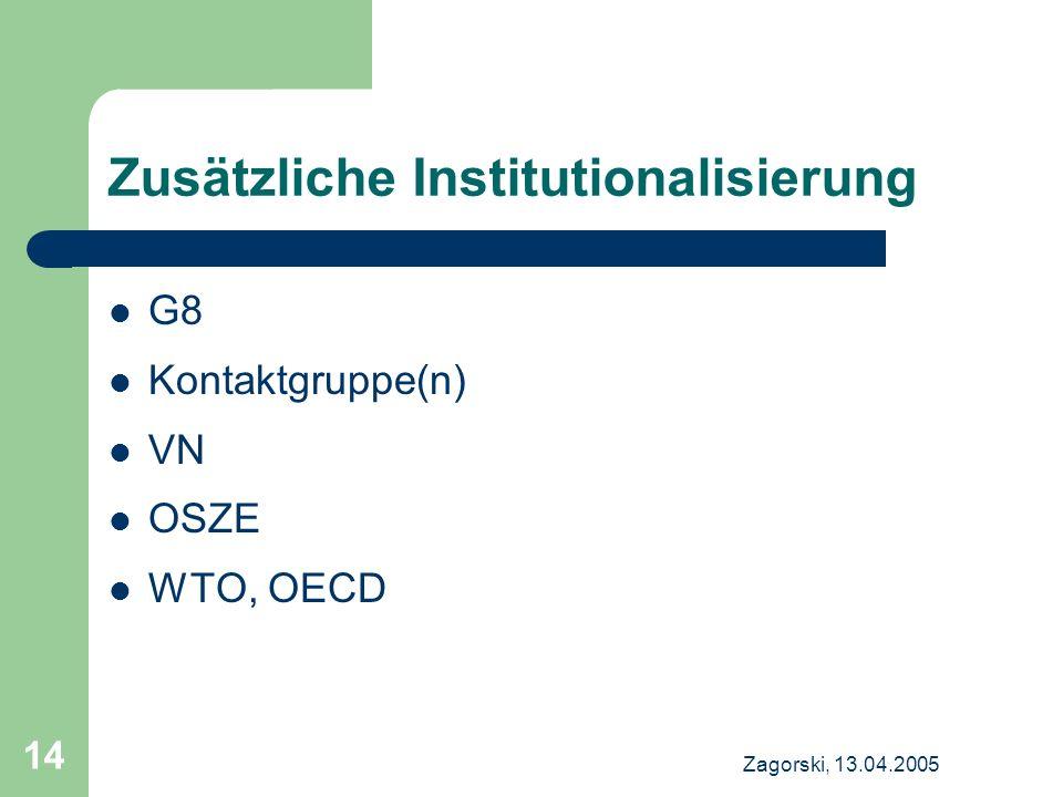 Zagorski, 13.04.2005 14 Zusätzliche Institutionalisierung G8 Kontaktgruppe(n) VN OSZE WTO, OECD