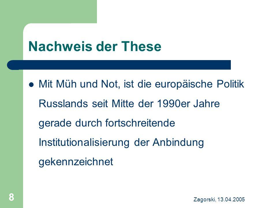 Zagorski, 13.04.2005 9 Russland – EU (I) 1994: PKA abgeschlossen – Handelsregime, politische Bestimmungen, Mechanismus für Konsultation Seit 1997 in Kraft Das Abkommen ist ausbaufähig und beinhaltet die Option des freien Handels