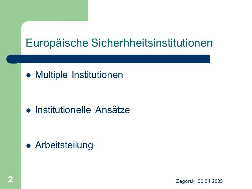 Zagorski, 06.04.2005 2 Europäische Sicherhheitsinstitutionen Multiple Institutionen Institutionelle Ansätze Arbeitsteilung
