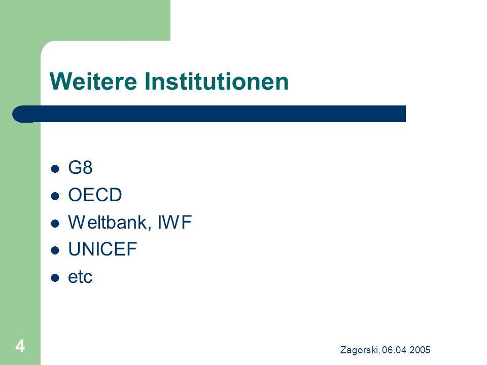 Zagorski, 06.04.2005 4 Weitere Institutionen G8 OECD Weltbank, IWF UNICEF etc