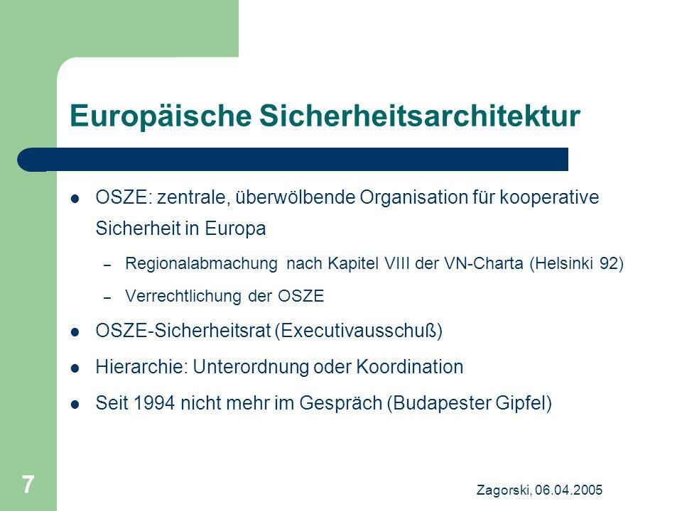 Zagorski, 06.04.2005 7 Europäische Sicherheitsarchitektur OSZE: zentrale, überwölbende Organisation für kooperative Sicherheit in Europa – Regionalabm