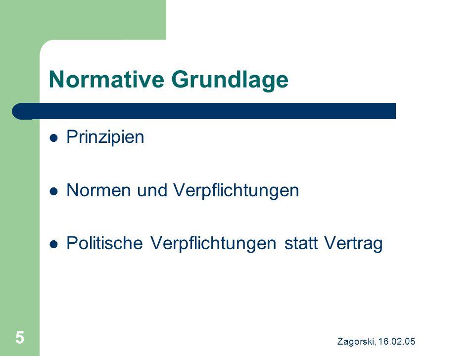 Zagorski, 16.02.05 5 Normative Grundlage Prinzipien Normen und Verpflichtungen Politische Verpflichtungen statt Vertrag