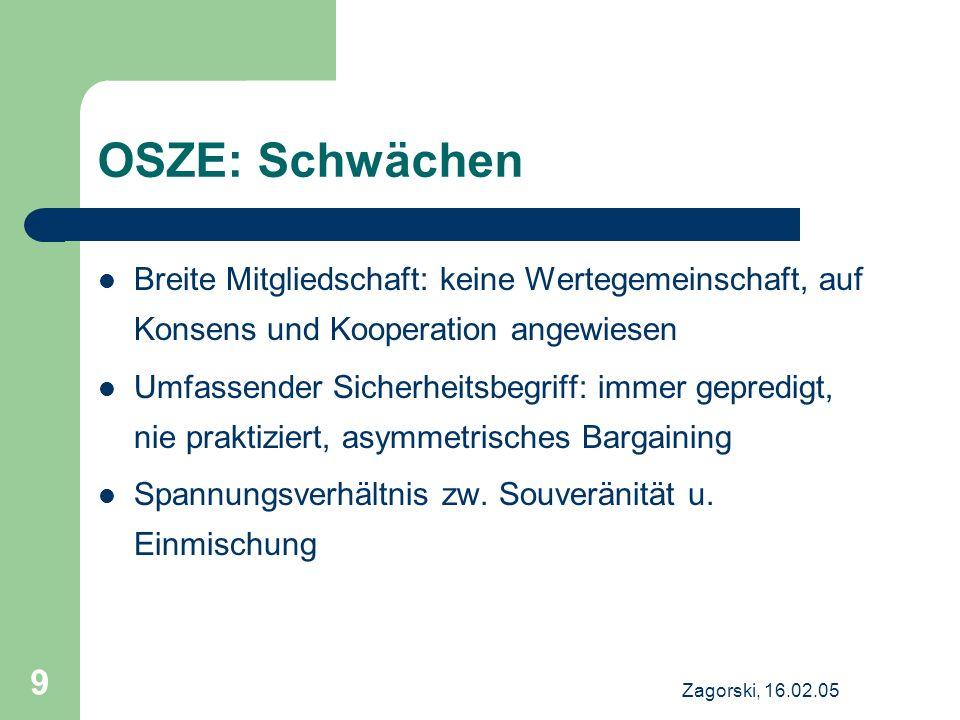Zagorski, 16.02.05 9 OSZE: Schwächen Breite Mitgliedschaft: keine Wertegemeinschaft, auf Konsens und Kooperation angewiesen Umfassender Sicherheitsbeg