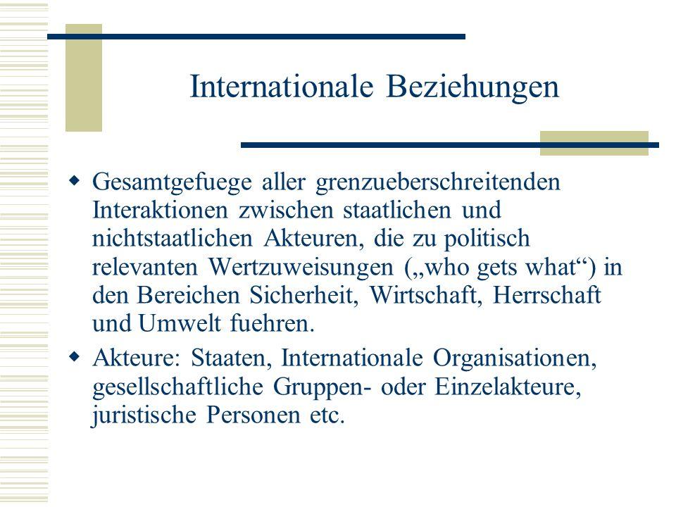 Internationale Beziehungen Gesamtgefuege aller grenzueberschreitenden Interaktionen zwischen staatlichen und nichtstaatlichen Akteuren, die zu politis