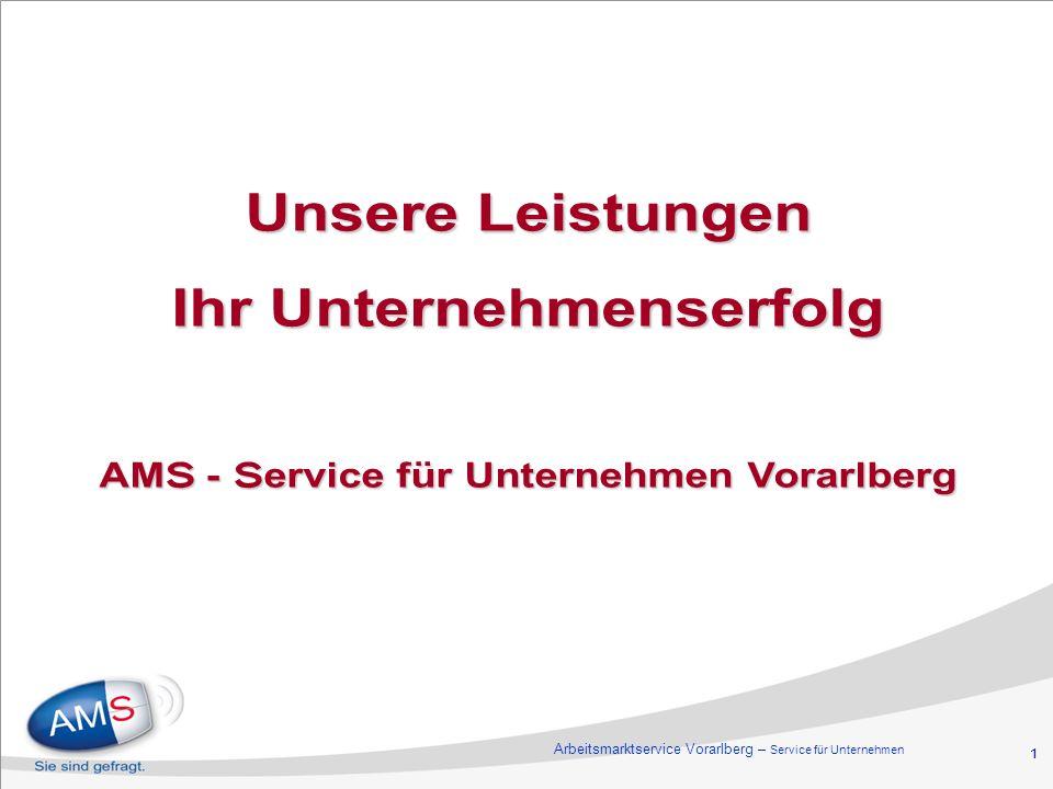 1 Unsere Leistungen Ihr Unternehmenserfolg AMS - Service für Unternehmen Vorarlberg Arbeitsmarktservice Vorarlberg – Service für Unternehmen