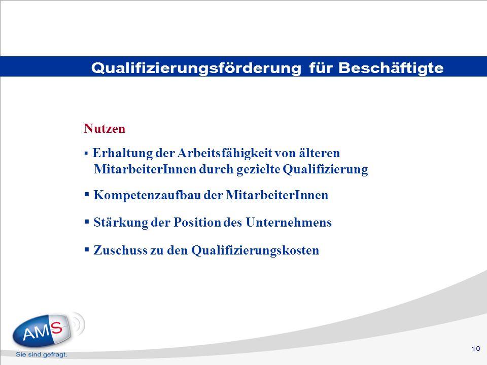 10 Qualifizierungsförderung für Beschäftigte Nutzen Erhaltung der Arbeitsfähigkeit von älteren MitarbeiterInnen durch gezielte Qualifizierung Kompetenzaufbau der MitarbeiterInnen Stärkung der Position des Unternehmens Zuschuss zu den Qualifizierungskosten