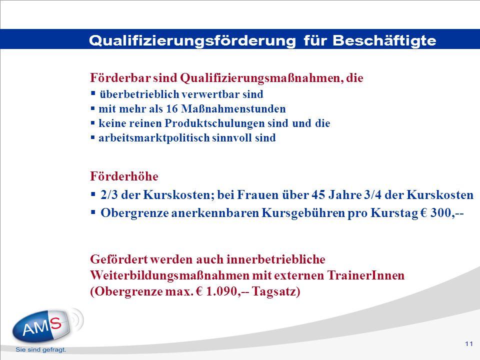 11 Qualifizierungsförderung für Beschäftigte Förderhöhe 2/3 der Kurskosten; bei Frauen über 45 Jahre 3/4 der Kurskosten Obergrenze anerkennbaren Kursg
