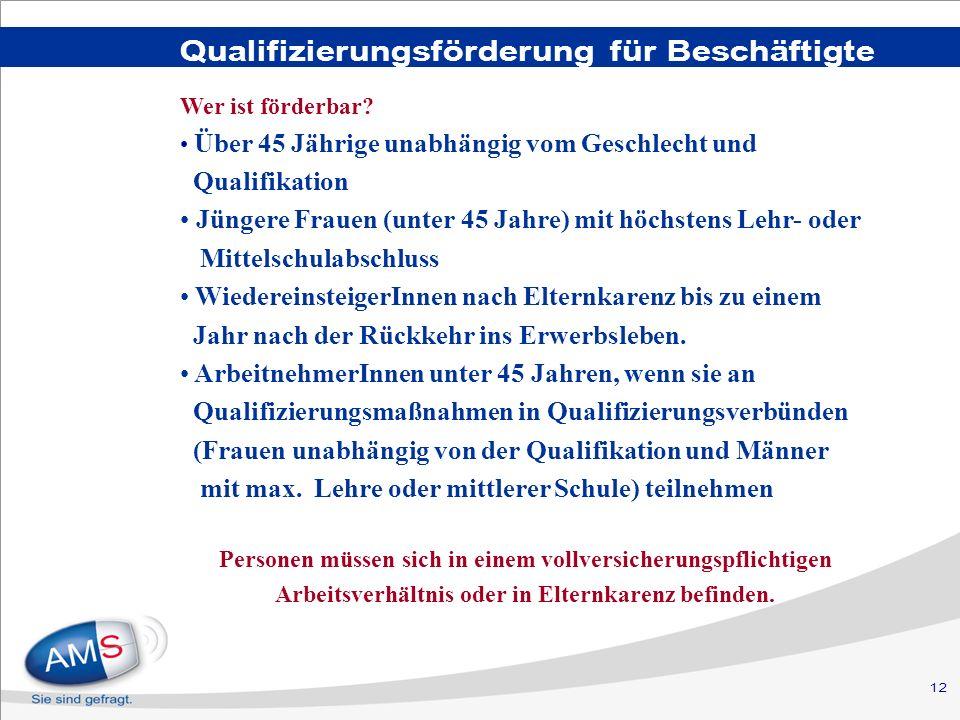 12 Qualifizierungsförderung für Beschäftigte Wer ist förderbar? Über 45 Jährige unabhängig vom Geschlecht und Qualifikation Jüngere Frauen (unter 45 J