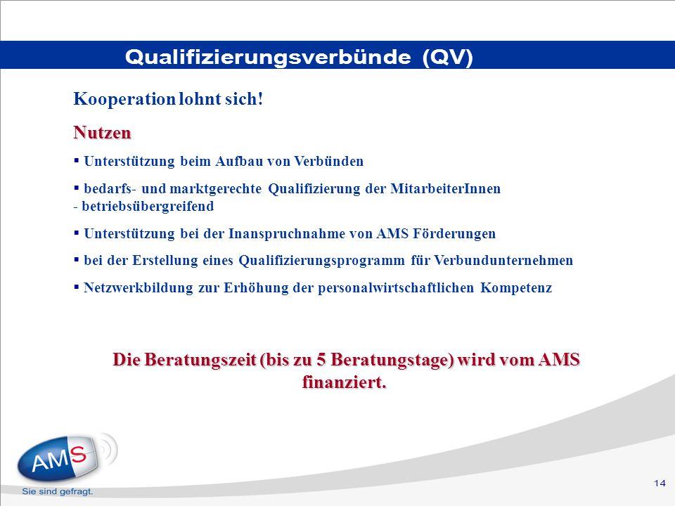 14 Qualifizierungsverbünde (QV) Kooperation lohnt sich!Nutzen Unterstützung beim Aufbau von Verbünden bedarfs- und marktgerechte Qualifizierung der MitarbeiterInnen - betriebsübergreifend Unterstützung bei der Inanspruchnahme von AMS Förderungen bei der Erstellung eines Qualifizierungsprogramm für Verbundunternehmen Netzwerkbildung zur Erhöhung der personalwirtschaftlichen Kompetenz Die Beratungszeit (bis zu 5 Beratungstage) wird vom AMS finanziert.