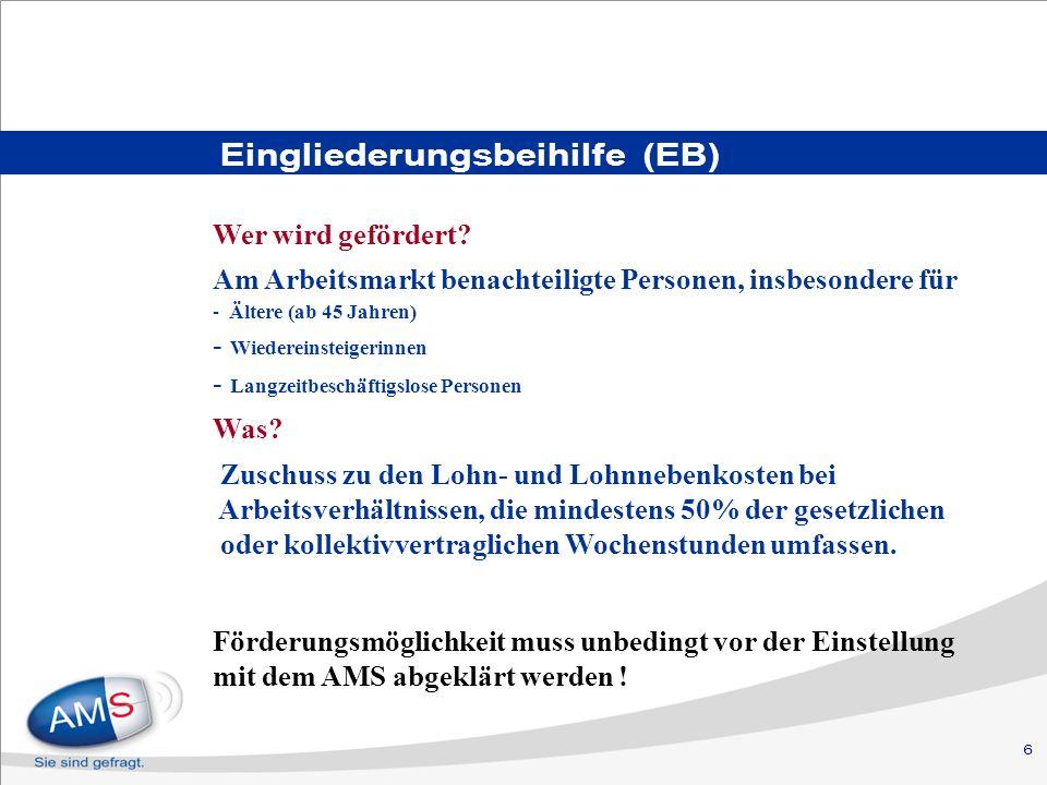 6 Eingliederungsbeihilfe (EB) Wer wird gefördert? Am Arbeitsmarkt benachteiligte Personen, insbesondere für - Ältere (ab 45 Jahren) - Wiedereinsteiger