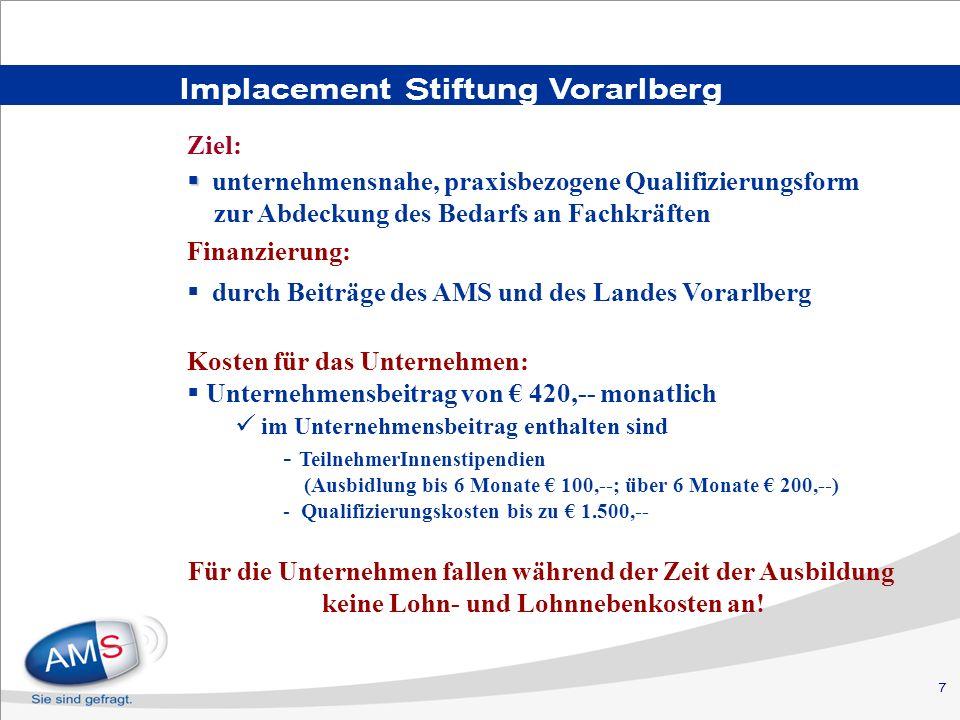 7 Implacement Stiftung Vorarlberg Ziel: unternehmensnahe, praxisbezogene Qualifizierungsform zur Abdeckung des Bedarfs an Fachkräften Finanzierung: du