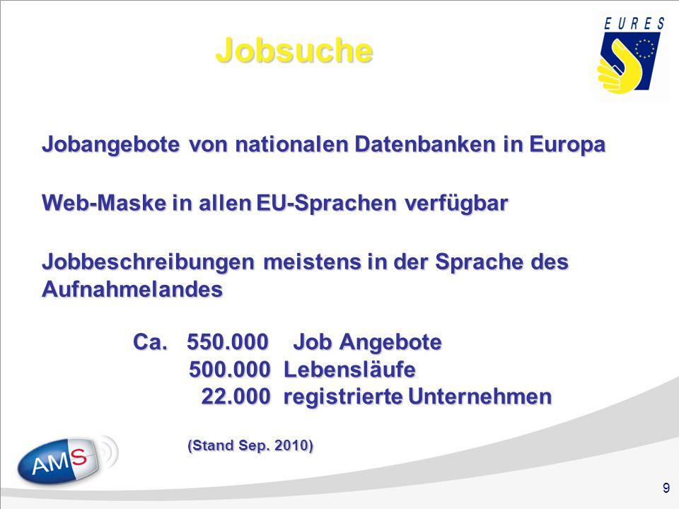 9 Jobsuche Jobangebote von nationalen Datenbanken in Europa Web-Maske in allen EU-Sprachen verfügbar Jobbeschreibungen meistens in der Sprache des Auf